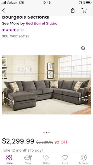 Bourgeois Sectional couch for Sale in Raleigh, NC