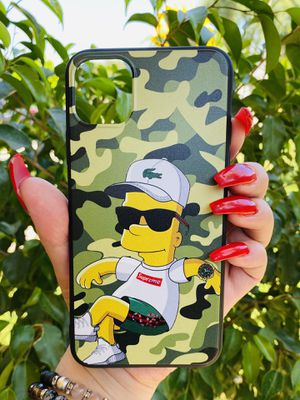 Brand new cool iphone 11 PRO MAX 6.5 case cover phone case rubber Bart Simpson Lacoste supreme collab girls guys mens womens skate skateboard swag br for Sale in Highland, CA