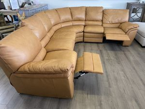 120x100 Double Reclining Natuzzi Real Leather Sectional Couch Sofa Camel Color Excellent Mint for Sale in Lake Worth, FL
