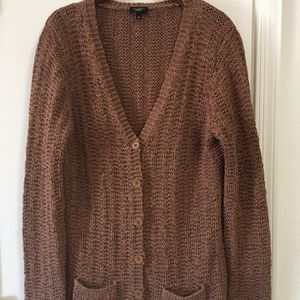 TALBOTS New NWOT Womens Ladies Chocolate Brown Knit Button V Neck Sweater Cardigan W/ Pockets Size L Large for Sale in El Mirage, AZ