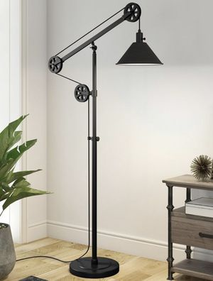 New in box 72 inches tall pulley floor lamp with led light bulb included heavy duty bronze steel finish for Sale in Fontana, CA