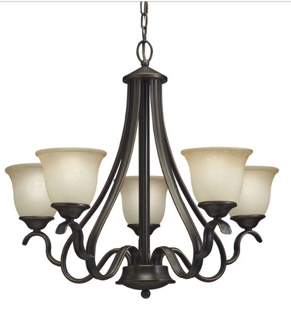 Set of Bronze Light Fixtures - 5-glass chandelier and bell pendant