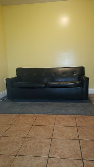 BLACK LEATHER SOFA/FUTON $550 OR BEST OFFER for Sale in Bowie, MD