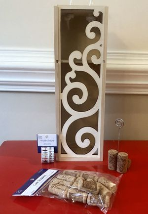 Wine box, washi tape, cork picture holder, and Florence corks for Sale in Charlotte, NC