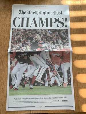 Washington Nationals Championship News Paper (The Washington Post) for Sale in Boyds, MD