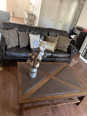 Ashley furniture couch with queen size mattress and leather coffee table for Sale in Phoenix, AZ