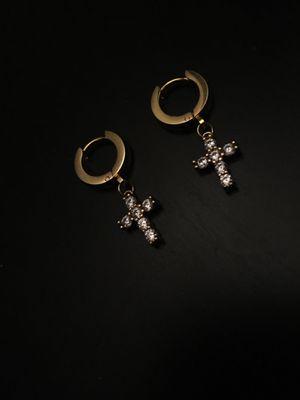 Earrings (gold hoop, diamond cross) for Sale in Rancho Cucamonga, CA