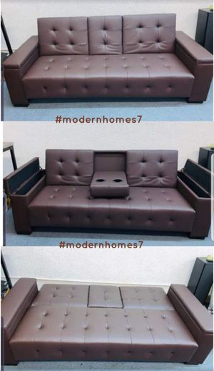 Brown leather sofa bed sleeper couch futon with storage and cupholders for Sale in Fontana, CA