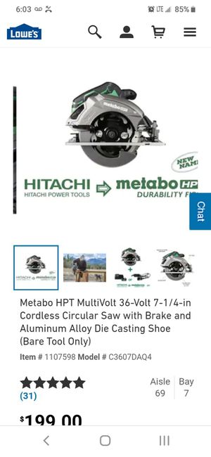 Hitachi cordless metabo hpt 36v skill saw and 18v hammer drill for Sale in Tacoma, WA