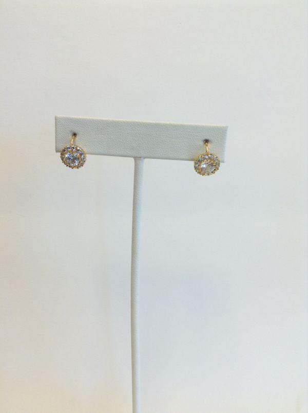 Circular cubic zirconia earrings