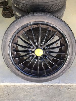 Universal Custom black/yellow rims and low pro tires for Sale in North Brookfield, MA