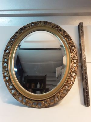 Late 1800's gilded wood oval mirror for Sale in Sarasota, FL