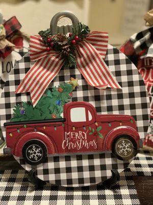 Cute red truck buffalo plaid Christmas decor for Sale in Azusa, CA