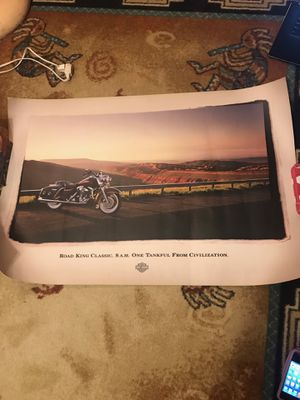 """Harley-Davidson Motorcycles """"Road King Classic"""" Poster, """"8 A.M. One Tankful From Civilization"""" featuring motorcycle photo w/ scenic background for Sale in Parkland, FL"""