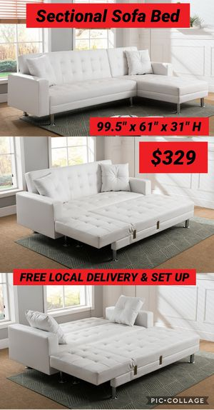 Brand New Sectional Sofa Bed 2 Pcs White Bonded Leather $329 FREE LOCAL DELIVERY & SET UP for Sale in San Bernardino, CA