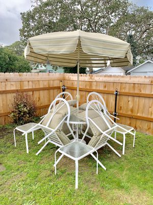 Outdoor Furniture: Table, Umbrella, 4 chairs, w/ 4 side tables. for Sale in Tacoma, WA