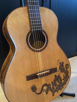 Blueberry Classical Nylon String Guitar, Handmade Custom Carved Dragon for Sale in Half Moon Bay,  CA