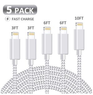 Brand New 5 Packs iPhone Charger,MFi Certified Lightning Cable 5 Pack(3+3+6+6+10ft) Durable High-Speed Charger Nylon Braided Cord Compatible iPhone X for Sale in Hayward, CA