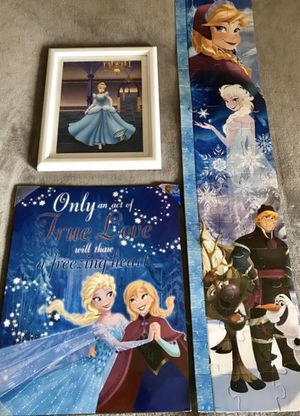 Frozen Wall Room Decoration and Disney Princess Cinderella for Sale in Alexandria, VA