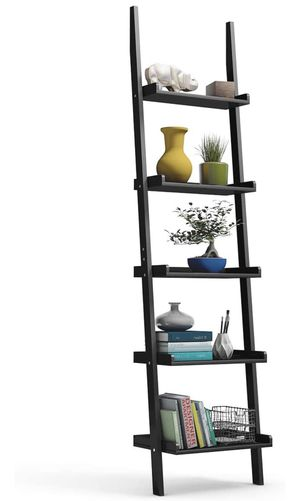 Ladder Shelf, 5-Tier Multifunctional Modern Wood Plant Flower Book Display Shelf, Home Office Storage Rack Leaning Ladder Wall Shelf (Black, 1) for Sale in El Monte, CA