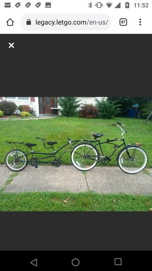 Unique Diamondback Cruiser bike Adam's Double Tandem Trailer & Booster Will split if someone is only looking for the beach cruiser or tandem trailer for Sale in Dumont, NJ
