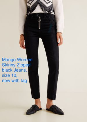 Mango Women Skinny Zipped Black Jeans, Size 10 for Sale in Malvern, PA
