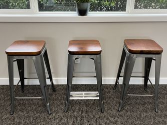 3 Barstools With Metal Base and Swivel Wood Seat for Sale in Vancouver,  WA