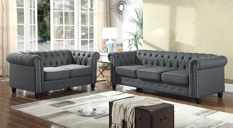 CHESTERFIELD STYLE TUFTED NAILHEAD ACCENTS 2 PIECE SOFA LOVESEAT SET - COUCH SILLONES for Sale in Downey,  CA