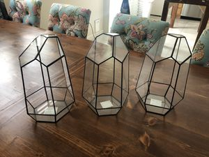 Geometric Black Metal & Glass Terrarium (3) for Sale in Las Vegas, NV