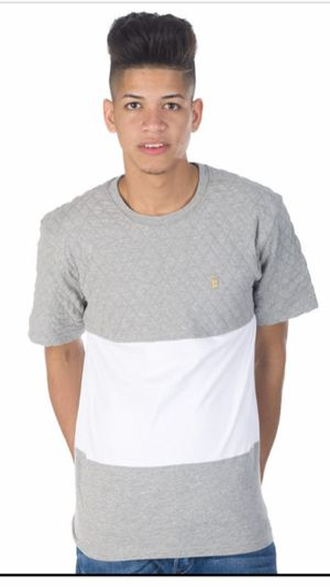 Men's T-shirt Aura Gold Quilted Block Tee Size XL Gray And White Cotton for Sale in Avondale, AZ