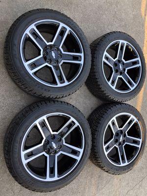 """22"""" Chevy GMC Carbon Rims and Tires 22 Chevrolet black wheels 22s rines y Llantas 2018 Silverado 2017 Tahoe 2016 GMC 2015 Sierra 2014 Yukon suburban for Sale in Dallas, TX"""