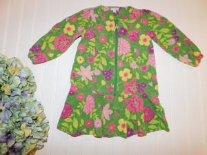 Le Top Girls Kids size 2T Green Bright Floral Soft Corduroy Drop Waist Easter Spring Dress for Sale in Tacoma, WA