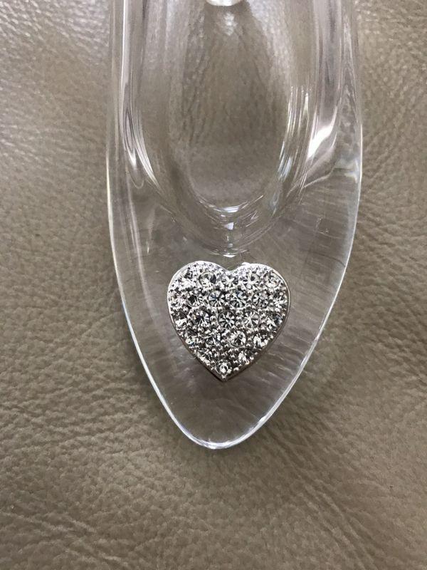Disney Cinderella glass slipper w/Swarovski crystals heart accent on toe