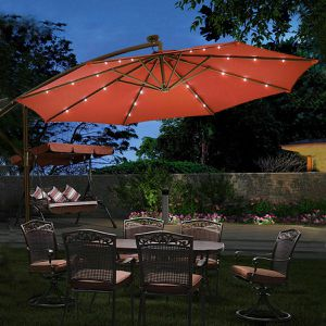 10' Hanging Solar LED Burgundy Umbrella Sun Shade W/Base for Sale in Arlington, TX