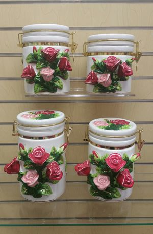4pc Kitchen Canister / Storage set ( NEW ) 3-D Roses for Sale in Salt Lake City, UT