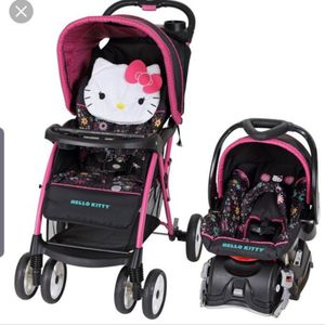 Baby brand hello kitty stroller and car seat with base for Sale in Strongsville, OH