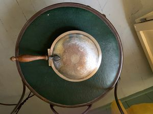 Silver pan with a claw on the lid Made by Academy silver on copper for Sale in Westfield, MA