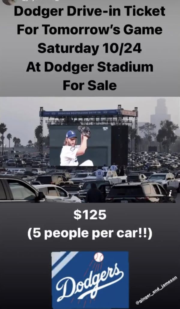 Dodgers stadium ticket World Series drive in