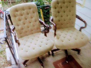 Beautiful office furniture cherry oak swivel tuft chairs (6) tottal lamp cherry oak book case for Sale in Denver, CO