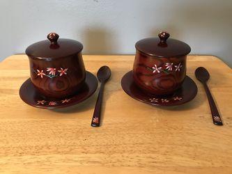 Asian Wooden Tea Set for 2 with Floral Design for Sale in Arlington,  VA