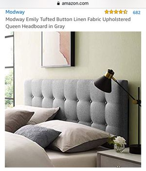 New Modway Emily Button Tufted Upholstered Queen headboard in gray for Sale in Woodbury, MN