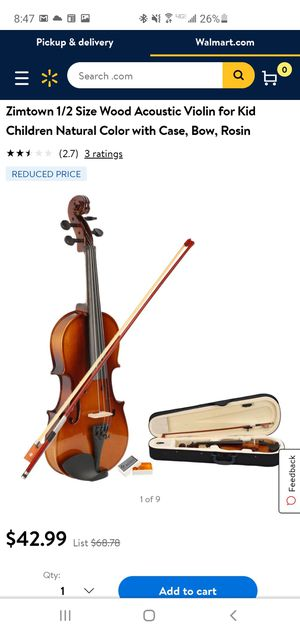 Zimtown 1/2 Size Wood Acoustic Violin for Kid Children Natural Color with Case, Bow, Rosin for Sale in Riverside, CA