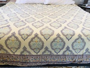 Duvet Cover - Light Yellow - Bohemian Boho Chic - King Size - John Robshaw - Handmade/Handpainted textile in India for Sale in Silver Spring, MD