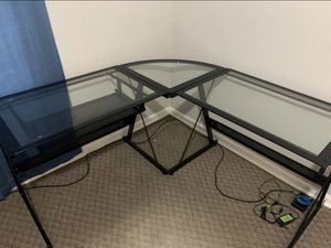 L shaped glass desk for Sale in Cleveland, OH