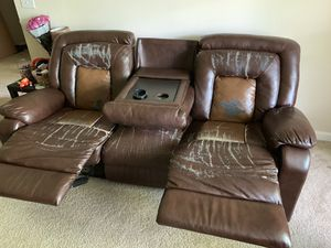 Leather reclining sofa, Free for Sale in Glen Allen, VA