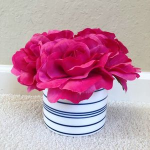 Fake Rose Red Peony Flowers Inside Foam Vase for Sale in Foster City, CA