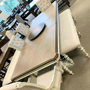 Bardot White/Brown Extendable Dining Set Table /6,7 piece Qption for Sale in Silver Spring, MD