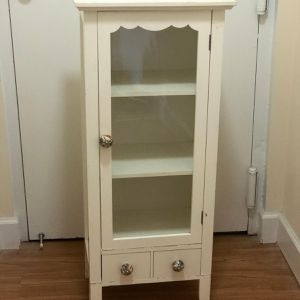 Wood cabinet with glass doors and drawers Tall curio for Sale in Silver Spring, MD