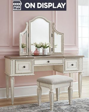 💫Realyn Chipped White Vanity Set with Stool by Ashley for Sale in Jessup, MD