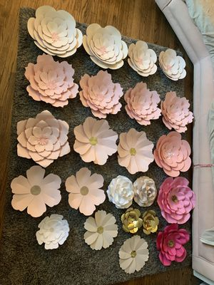 24 Paper Flowers roses parties baby shower bridal shower events backdrops diy for Sale in Lakewood, CA